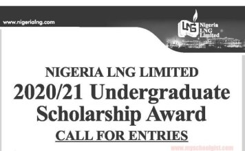 Nigeria Liquefied Natural Gas (NLNG) Undergraduate Scholarship Award 2020/2021