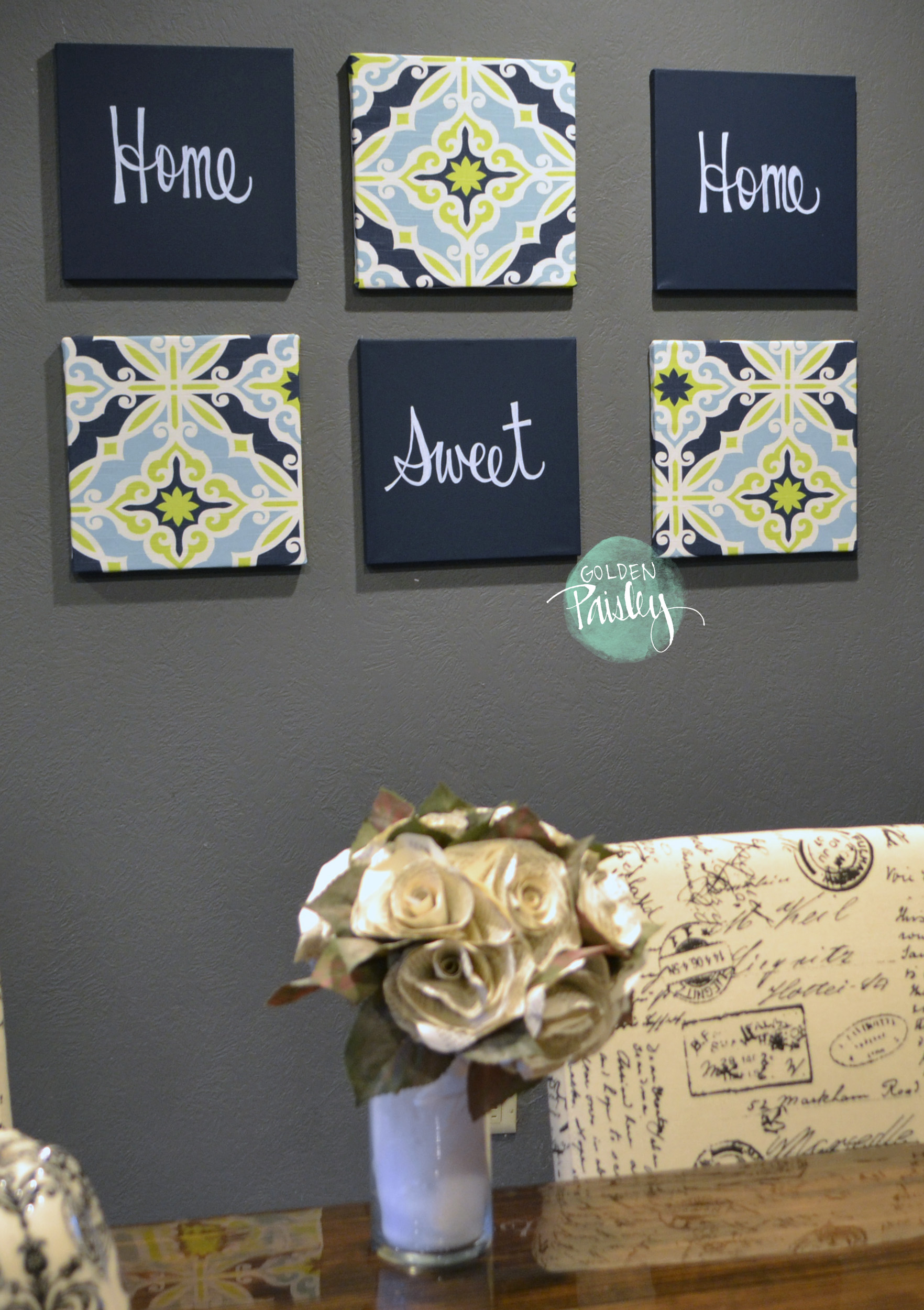 Navy And Lime Eat Drink Be Merry Chic Wall Decor Art Set