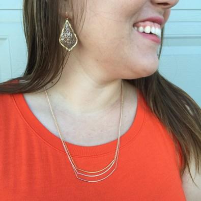 Earrings by Kendra Scott, Necklace by Gorjana