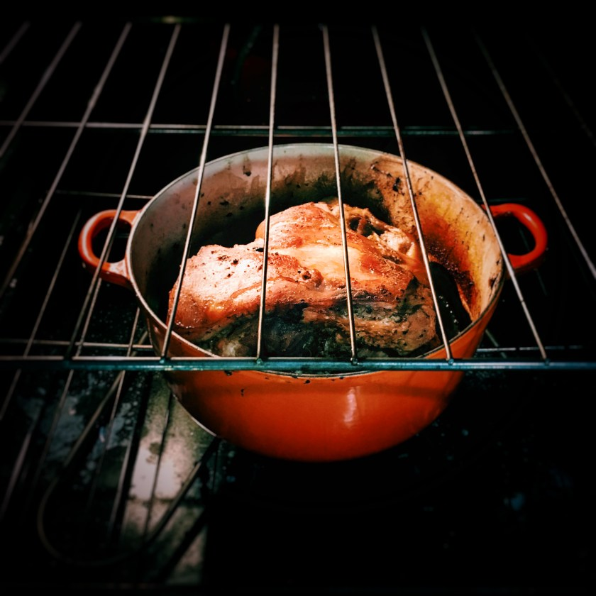 pork, slow roasted pork, slow roast pork, slow roast, roast, pork butt, pernil, recipe, pulled pork, le creuset, puertorican recipe, puerto rican pork roast