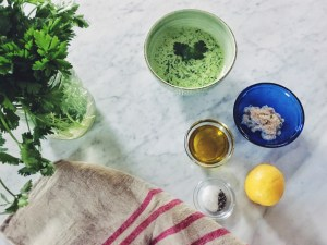 green goddess, salad, dressing, low calorie, low fat, cilantro, basil, italian parsley, greek yogurt, garlic, olive oil, lemon