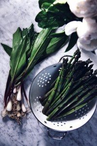 ramps, seasonal produce, garlic, onion, spring, wild onions, asparagus, risotto, mushrooms. locavore, farmers market