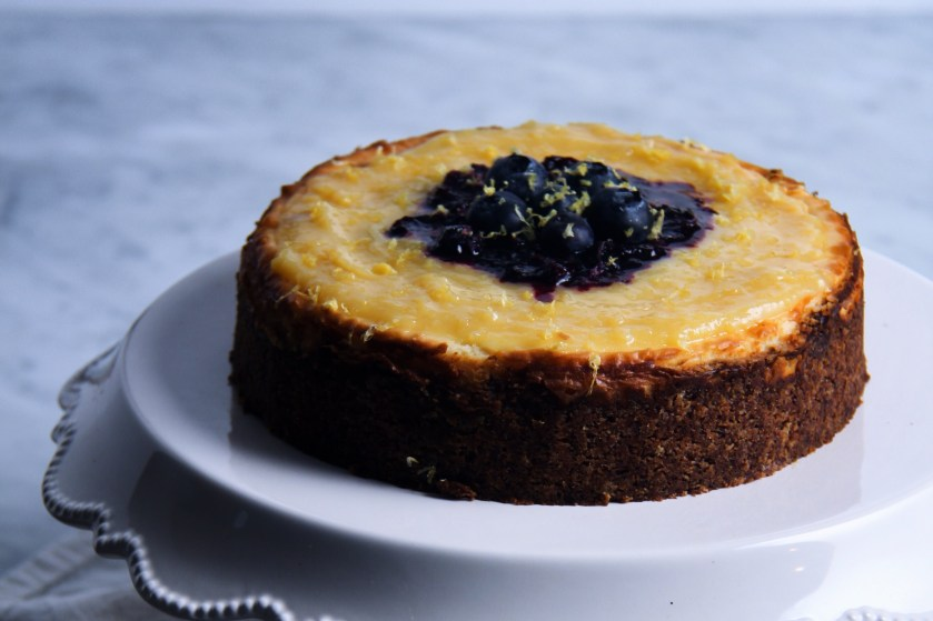 lemon curd, cheesecake, gluten free, baking, almond flour, low carb, blueberry compote, new york style cheesecake