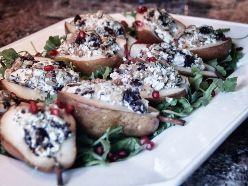 pears, stuffed pears, seasonal, fall cooking, autumn cooking, recipes, goat cheese, walnuts, cranberries, brandy, cognac, holidays, side dish, sweet, savory, sweet and savory, baked