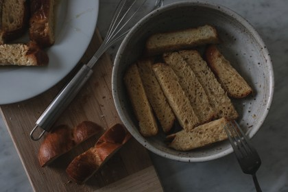 challah, french toast, eggnog, bourbon, brandy, holiday, recipe, breakfast, brunch, spiked
