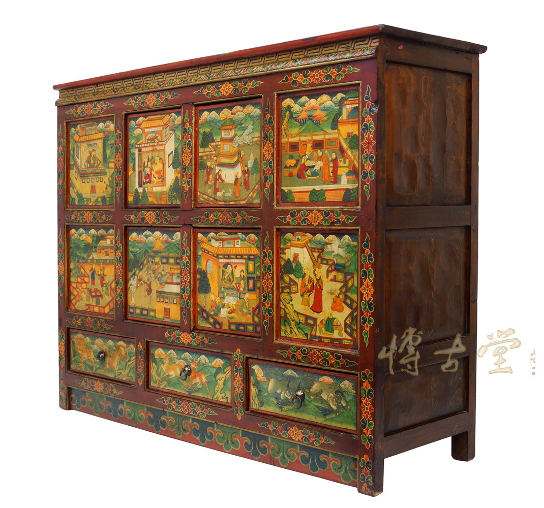 Tibetan Antique Colorful Hand Painted CabinetDresser