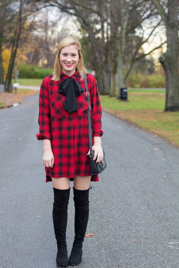 MY THANKSGIVING OUTFIT: FLANNEL SHIRTDRESS.