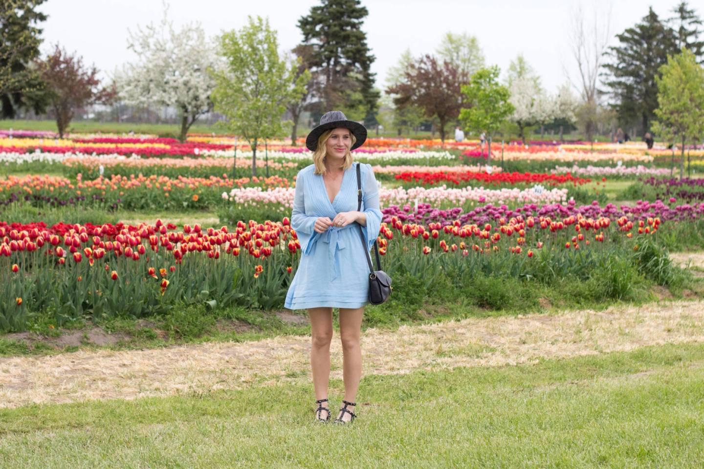 Bell Sleeves in a Flower Field.