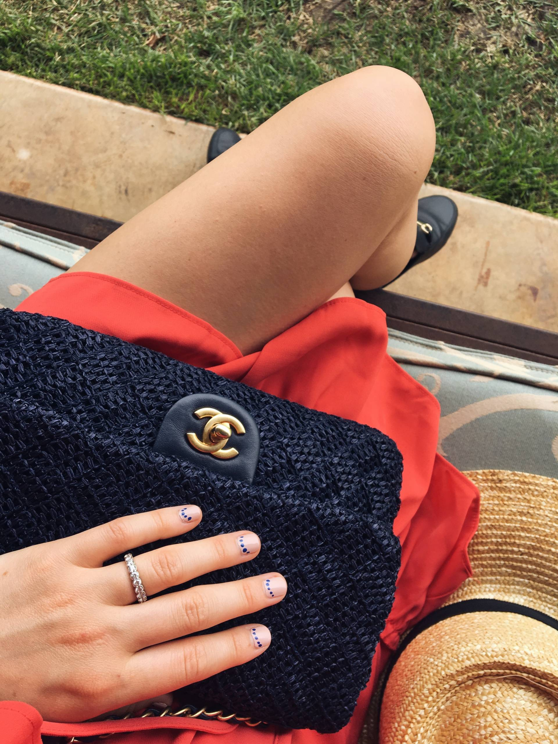 Dot Mani and Chanel Woven Raffia Flap Bag