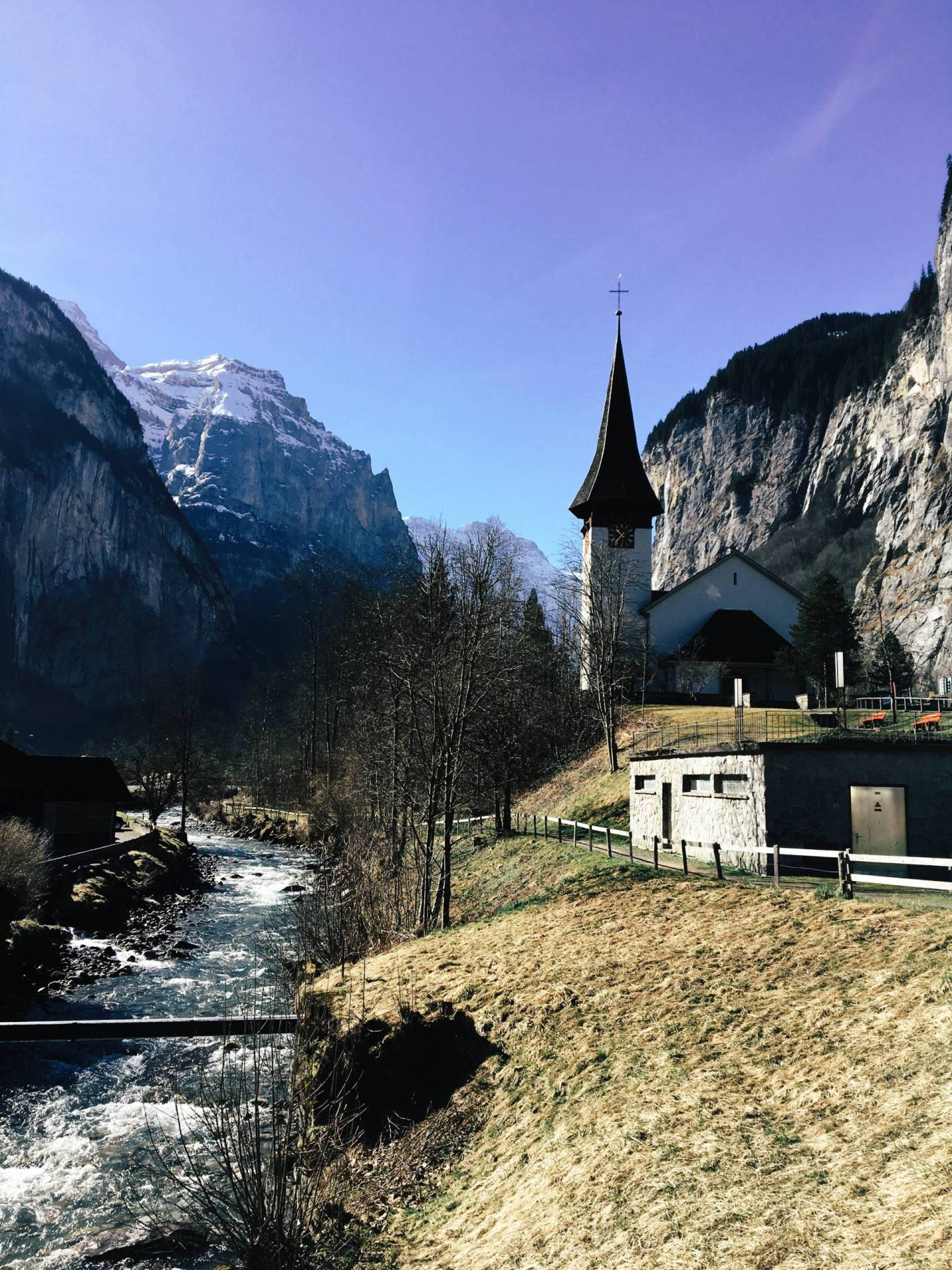 Church amongst the Swiss Alps