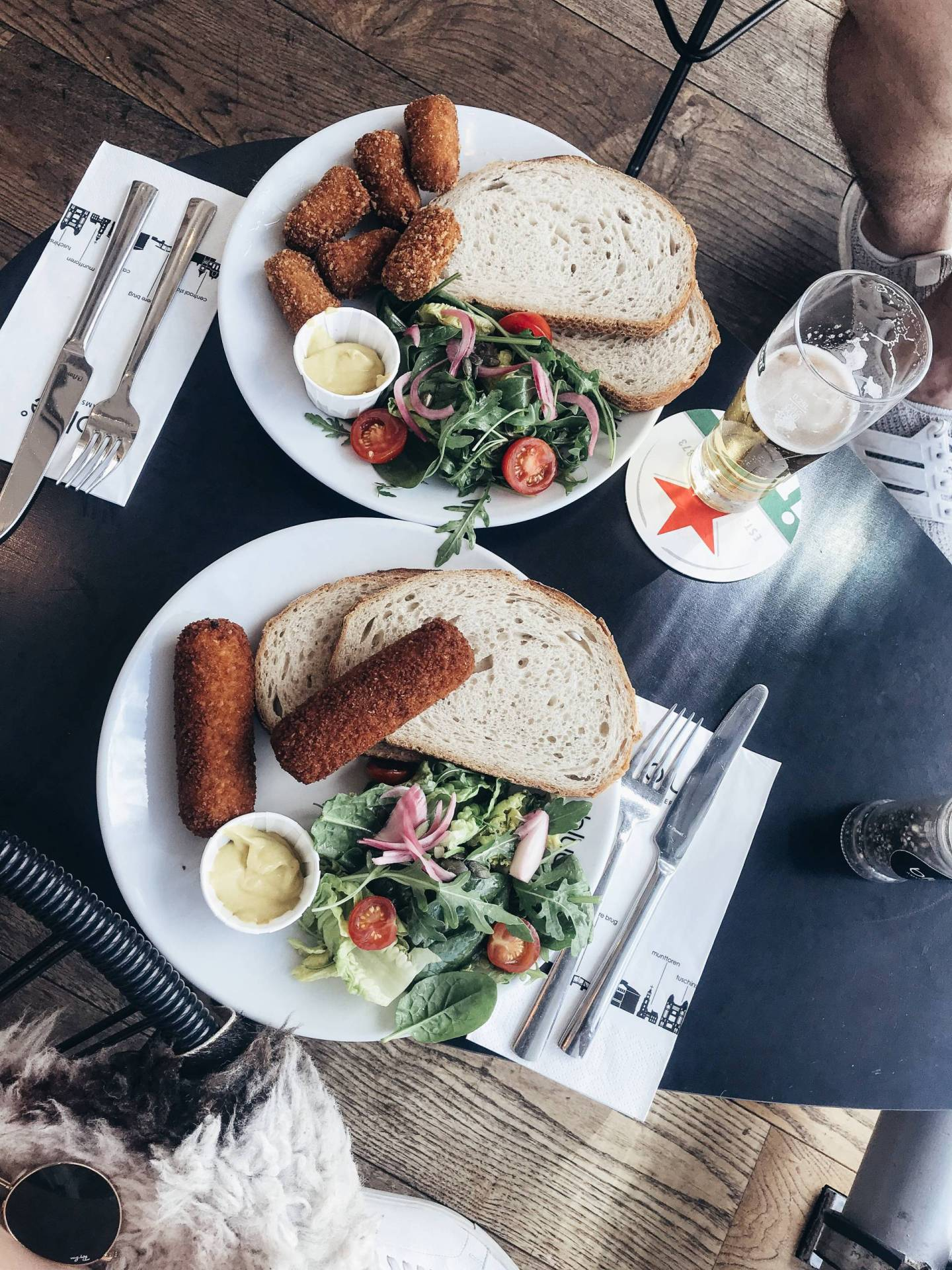 "Favorite thing we ate in Amsterdam - worth completely burning the roof of my mouth ha! Thankful for the sweet waitress who told me ""the best Dutch way"" to eat these croquettes (ps: the beef were the bomb!) Click through for everything else we ate during our visit to the Dutch capital!"