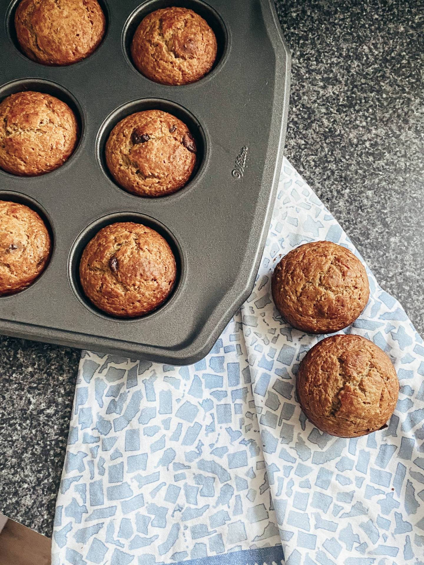 These healthy banana chocolate chip muffins are free of refined sugar and butter and packed with protein and fiber, think collagen peptides, chia seeds, and ground flax seeds! The perfect breakfast, snack, or dessert!