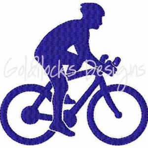 Bicyclist bicyle cycling embroidery design