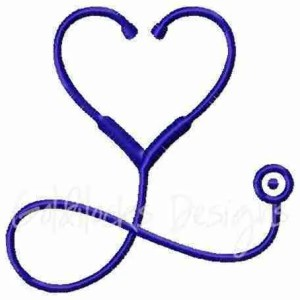 Stethoscope with heart shape Nurse embroidery design