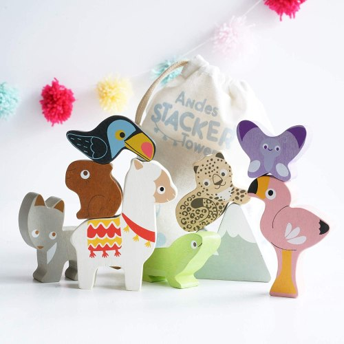 Andes Wooden Animal Stacking Tower Toys