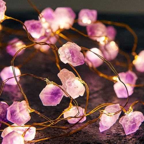 Natural Amethyst Raw Stones LED Decorative String Lights