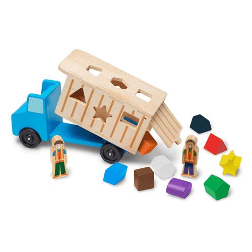 Shape-Sorting Wooden Dump Truck