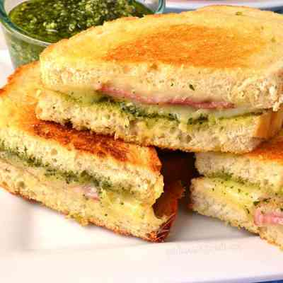 Salami Pesto Grilled Cheese