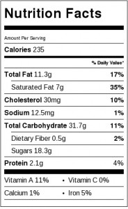 Nutrition Label for Ultimate Butter Cookies