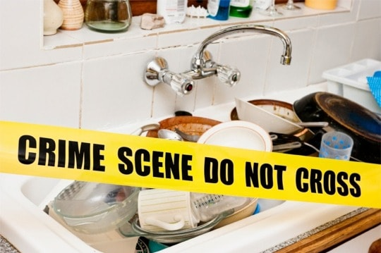 Crime scene dirty-dishes