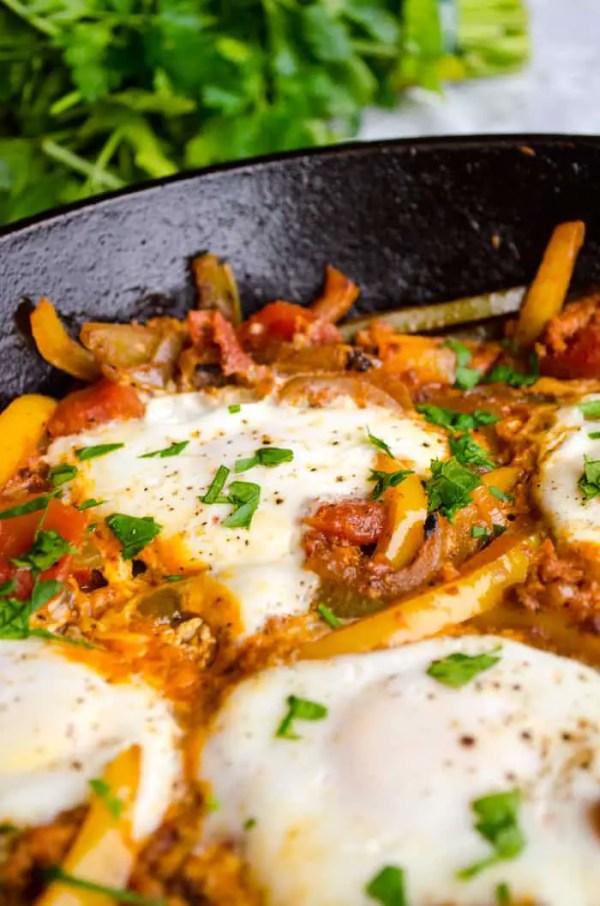 Egg and Chorizo Skillet. 30 Valentine's Day Breakfast In Bed Ideas - The Goldilocks Kitchen
