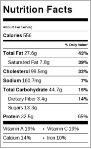 Nutrition label for chicken bow tie pasta