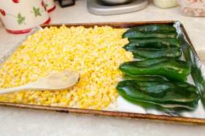 Poblano And Corn Ready To Be Broiled