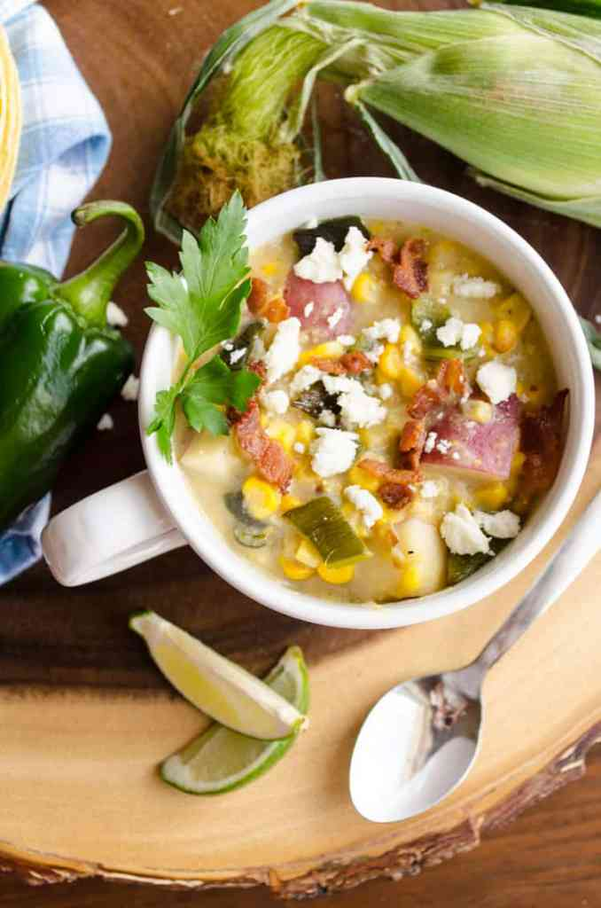 Roasted Corn And Poblano Chowder Top View