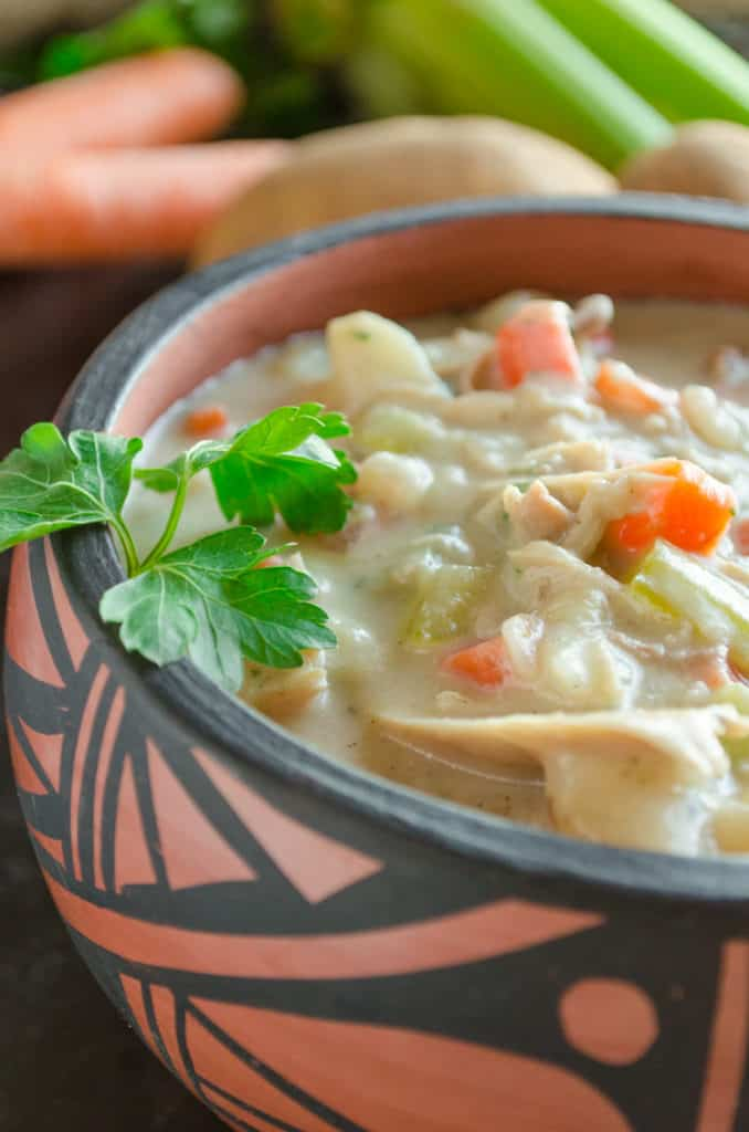 Creamy Leftover Turkey Stew- The Goldilocks Kitchen- leftover turkey recipes easy
