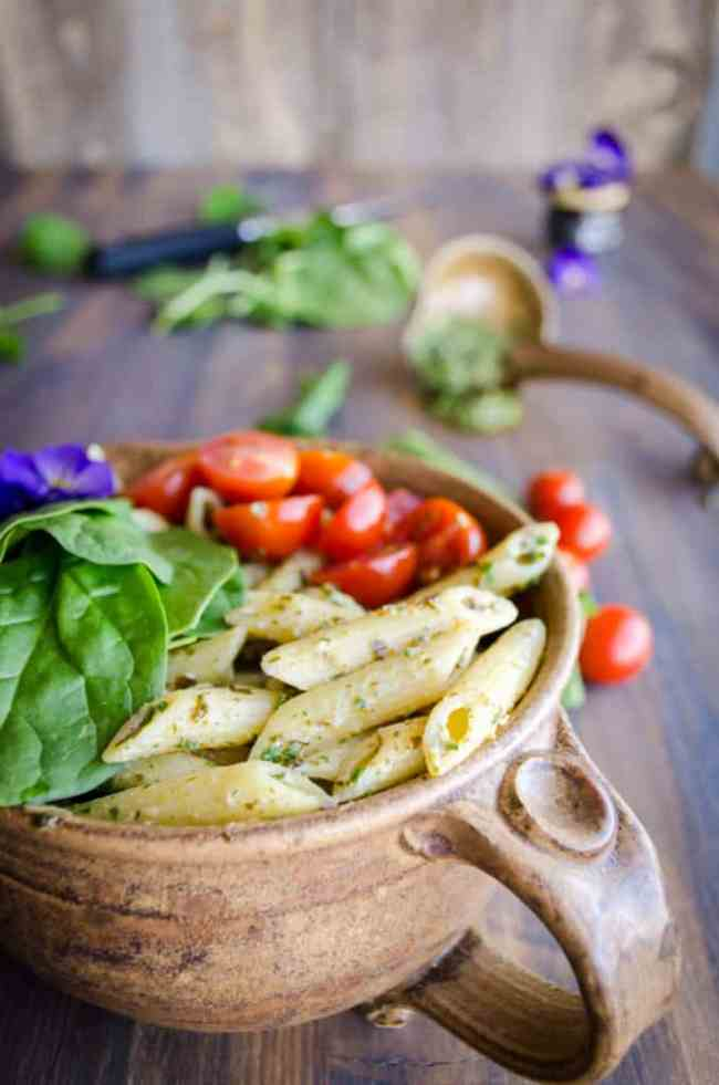 Spinach Feta Pesto Pasta Salad - The Goldilocks Kitchen