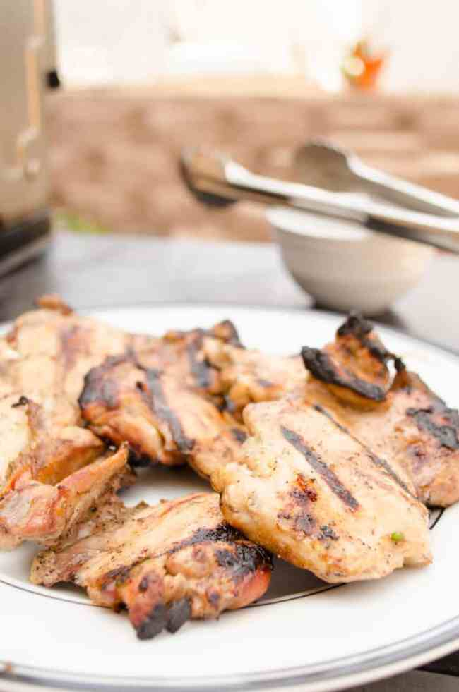 Perfectly cooked grilled chicken thighs for Southwestern Grilled Chicken Salad - The Goldilocks Kitchen