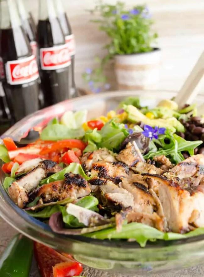 A closeup of Southwestern Grilled Chicken Salad - The Goldilocks Kitchen