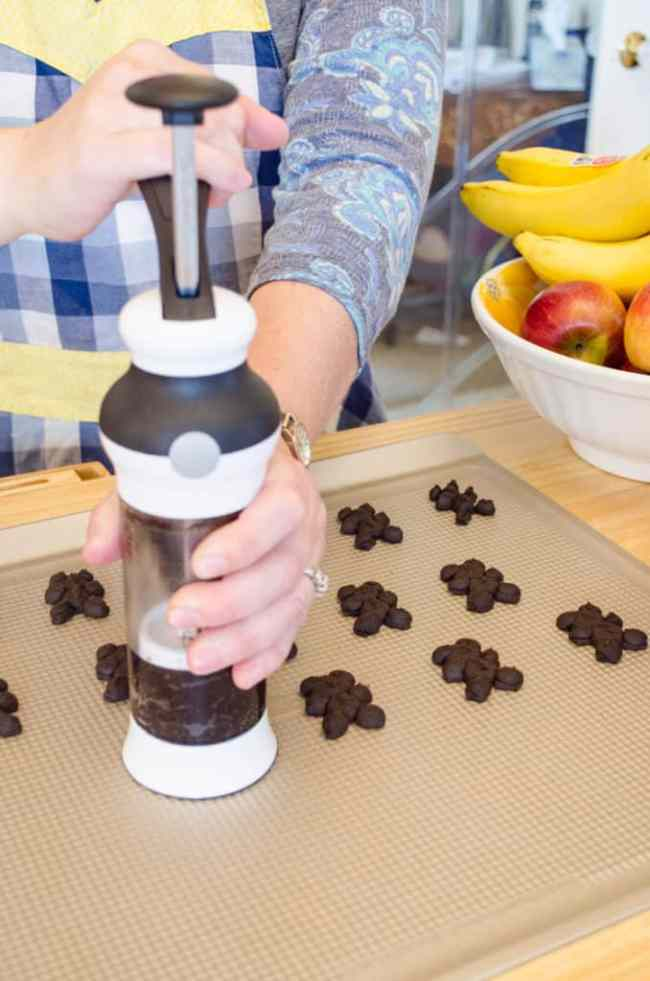 Using the OXO cookie press to make Chocolate Cinnamon Bear Cookies!