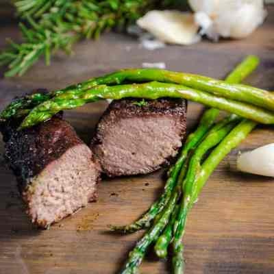 Grilled Elk Steak with Buttered Asparagus
