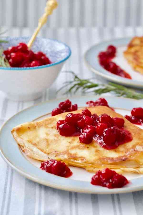 Crepes with Mascarpone Cream, topped with Cranberry Compote by Jo's Kitchen Larder. 30 Valentine's Day Breakfast In Bed Ideas - The Goldilocks Kitchen