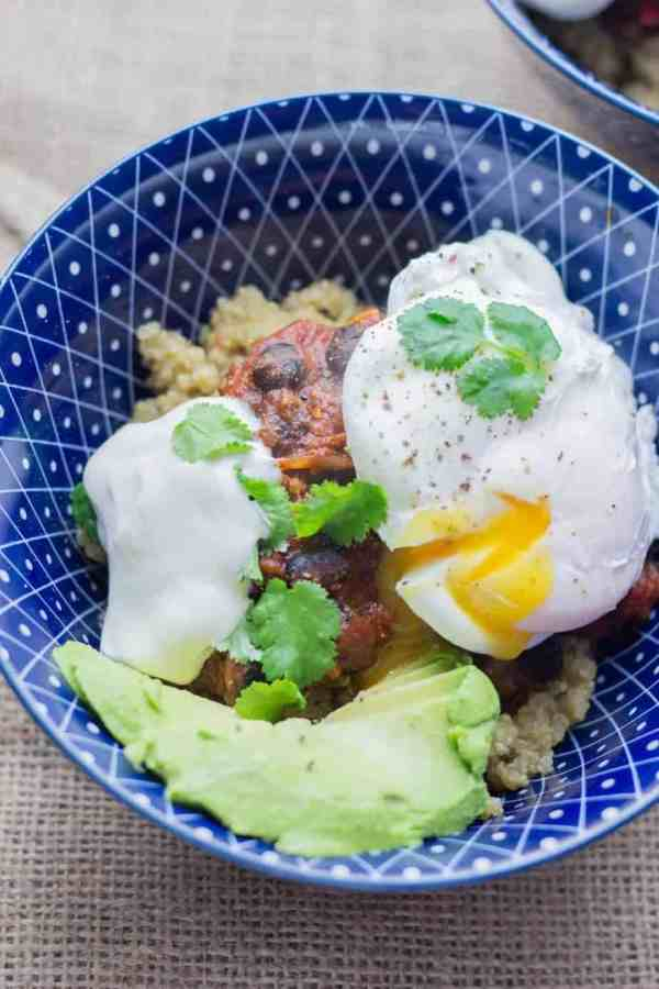Huevos Rancheros Quinoa Breakfast Bowl from The Cook Report. 30 Valentine's Day Breakfast In Bed Ideas - The Goldilocks Kitchen