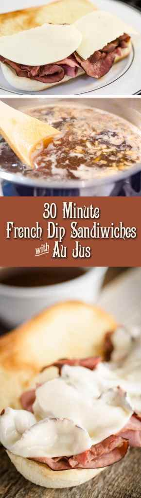 These 30 Minute French Dip with Au Jus Sandwiches are incredibly delicious, savory, fast and easy thanks to a few store bought ingredients and your oven broiler. These roast beef sandwiches make a great main course for a fast family weeknight dinner or weekend entertaining.