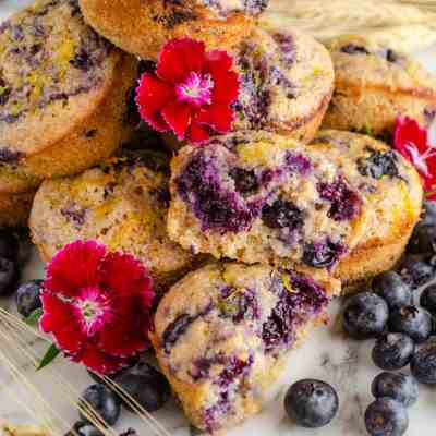 Moist Whole Wheat Blueberry Swirl Muffins