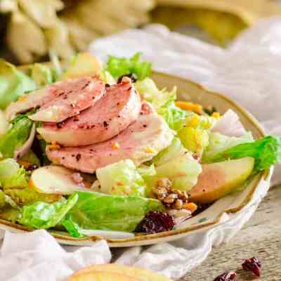 Chicken Apple Cheddar salad with Candied Pecans