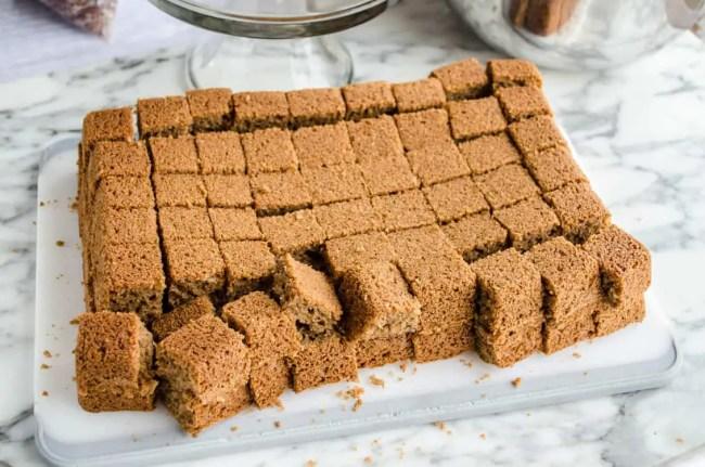 Pumpkin Spice Cheesecake Trifle spice cake cut into 1 inch cubes - The Goldilocks Kitchen