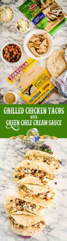 #ad Grilled Chicken Tacos with Green Chile Cream Sauce are just what you need to throw a great party! Made with ready to eat grilled Tyson chicken, freshly cooked TortillaLand flour tortillas, seasoned roasted squash, black beans, queso fresco and shredded cabbage; smothered in spicy roasted green chile cream sauce.