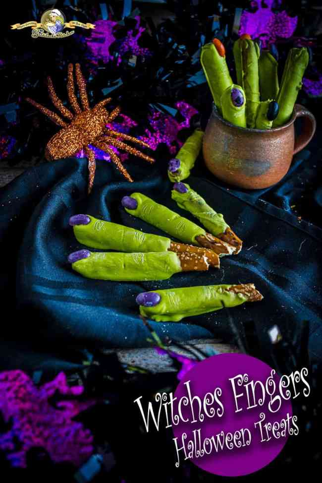 Looking for Halloween treat ideas and crafts? Witch Fingers Halloween Treats recipe @ The Goldilocks Kitchen are the yummiest, spookiest Halloween Treats on the web! Made simply from pretzel rods, green Wilton Candy Melts, and jelly beans for finger nails. Go check it out now. #HalloweenTreats #HalloweenCandy #HalloweenCrafts