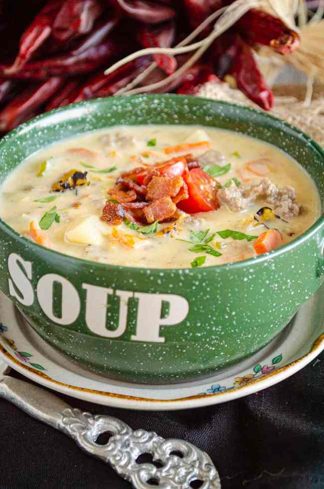 This Hatch Green Chile Cheeseburger soup can also be made in a crockpot. Brown beef and bacon separately, then place all ingredients except cheese, beef, and bacon into the crockpot