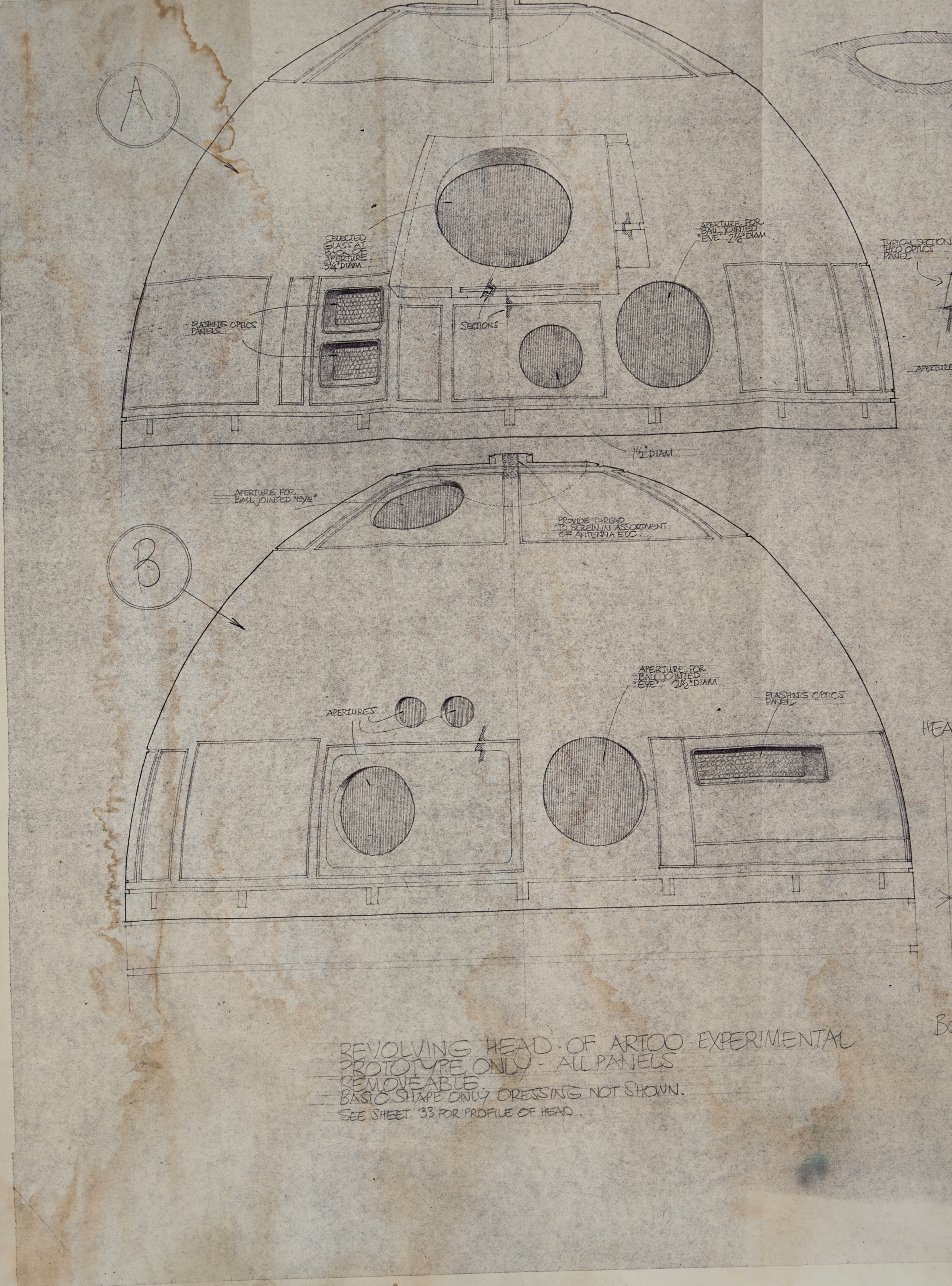 Lot Detail Original Star Wars Blueprint Dated 181976 For The R2 D2 Prototype In Star Wars