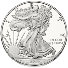 "Front, or ""obverse"", side of American Silver Eagle"