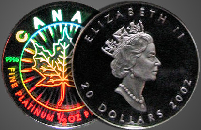 The 2002 Platinum Maple Leaf issues contain holograms.