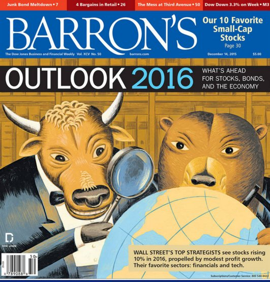 Barron's couldn't find one person that thinks stocks would fall in 2016