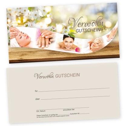 Kosmetikstudio-Gutscheinkarte SCHÖN IM FRÜHLING für Frauen