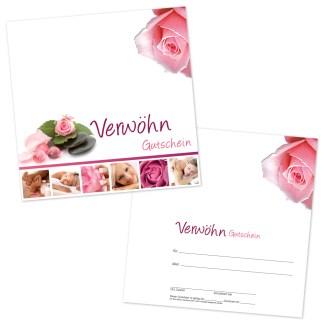 Der Gutschein Spa mit klassischem Blütenmotiv und Kosmetikbildern auf weißem Hintergrund wird eingesetzt im Kosmetikstudio für Gesichtsbehandlungen, Körperbehandlungen, Maniküre und Pediküre.