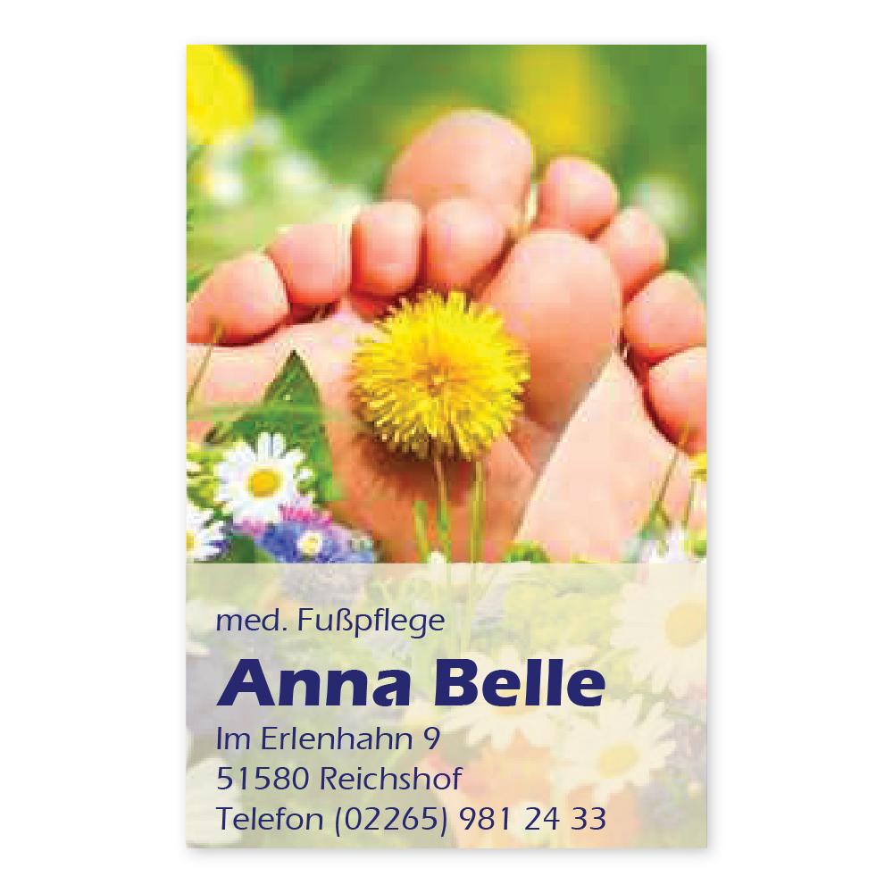 Fußpflege Visitenkarte Sommerwiese Hochformat